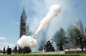 Using Four C3 Howitzers, members of the 30th Field Regiment, Royal Canadian Artillery, fire a 21-gun Royal Salute in recognition of the birth of the Royal baby on Parliament Hill in Ottawa Photograph: Adrian Wyld/AP