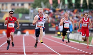 Jonnie Peacock of Great Britain wins the Men's 100m T44 final during day four of the IPC Athletics World Championships in Lyon, France. Photograph: Julian Finney/Getty Images