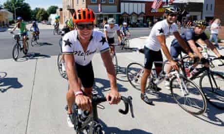 Lance Armstrong rides in the Register's Annual Great Bicycle Ride Across Iowa