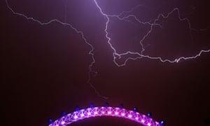 Lightning behind London Eye