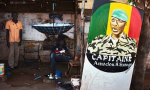 A painting of ex-junta leader Amadou Haya Sanogo
