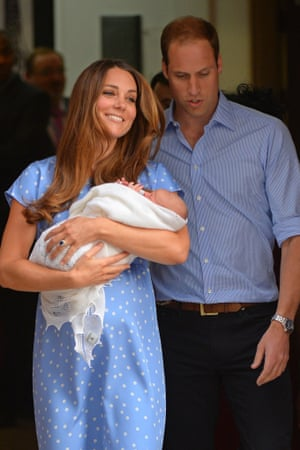 Prince William and Catherine, Duchess of Cambridge show their new-born baby boy to the world's media.
