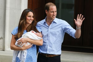 And finally here it is, the newest Prince in the world: Britain's Prince William, right, and Kate, Duchess of Cambridge hold the Prince of Cambridge as they pose for photographers outside St. Mary's Hospital in London where the Duchess gave birth on July 22. The Royal couple are expected to head to London s Kensington Palace from the hospital with their newly born son, the third in line to the British throne. Photograph: Kirsty Wigglesworth/AP