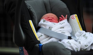 A closer look of the little Prince: William and Catherine, Duchess of Cambridge' new-born baby boy seen in a car seat outside the Lindo Wing of St Mary's Hospital in London. Photograph: Carl Court/AFP/Getty Images