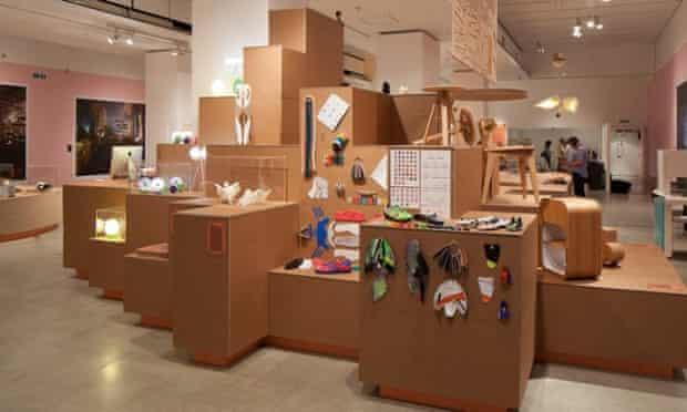 Mass customisation … exhibition plinth showing some of the mi adidas range alongside CNC plywood furniture.