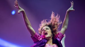 """Disney Channel star Martina Stoessel, of Argentina, performs in concert as """"Violetta,"""" her character from the Disney Channel television series of the same name, in Buenos Aires, Argentina. Photograph: Natacha Pisarenko/AP"""
