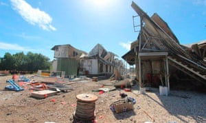 Damaged accommodation  after riots at the Australian detention and processing centre on Nauru island.