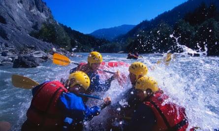 Whitewater rafting the Ruinaulta Rhine Gorge, Switzerland.