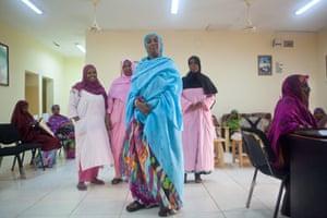 Mounira in a hospital waiting room in Djibouti