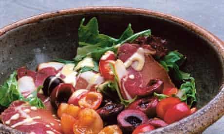 Nigel Slater's salad of summer leaves, cured pork and cherries