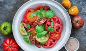 Sam Harris's heritage tomatoes and anchovy salad