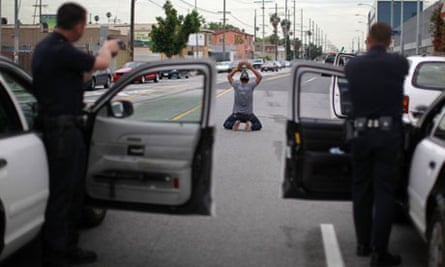 Officers arrest a man suspected of stealing his girlfriend's car in south Los Angeles