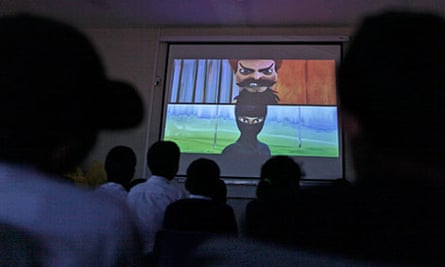 Burka Avenger being shown to an audience of children in Islamabad