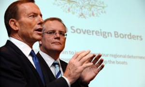 Tony Abbott and shadow immigration minister Scott Morrison announcing the Coalition's asylum seekers policy 'Operation Sovereign Borders'.