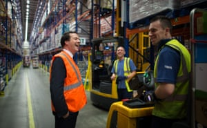 Chancellor of the Exchequer George Osborne meets staff at Tesco's National Distribution Centre near Rugby.