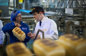 Chancellor of the Exchequer George Osborne meets staff at Warburtons Bakery in Wednesbury near Birmingham.