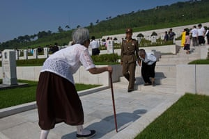 North Korea 60th: Elderly North Korean women tour a cemetery for Korean War veterans