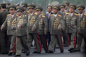 North Korea 60th: North Korean senior military officials arrive for the opening ceremony of t