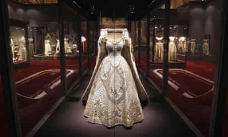 The Queen's coronation dress and robe on display at Buckingham Palace