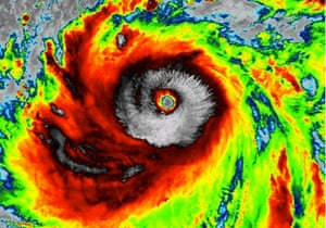 Image of infrared emission from Typhoon Sanba, 2012.