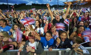 Fans cheering on Jessica Ennis at the Don Valley Stadium in Sheffield