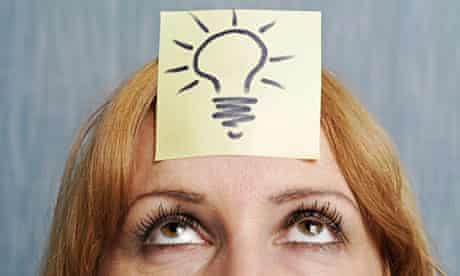 Ideas, Woman with a Drawing of a Lightbulb on Her Head.