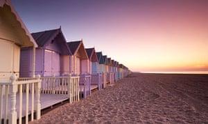Early dawn over new beach huts on Mersea Island.