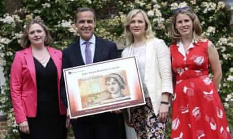 Caroline Criado-Perez (right) with, from left, Mary Macleod MP, Mark Carney and Stella Creasy MP.