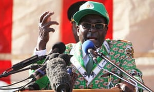 Robert Mugabe delivers a speech at the launch of his party's election campaign in Harare, Zimbabwe.