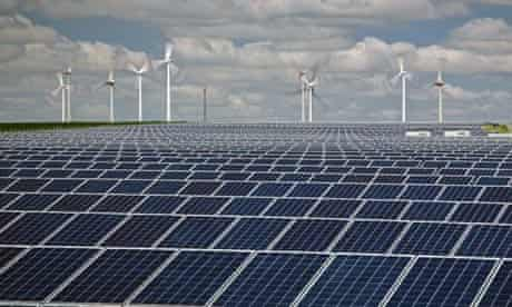Onshore Wind Farm and Solar Panels