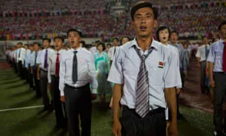 North Koreans celebrate