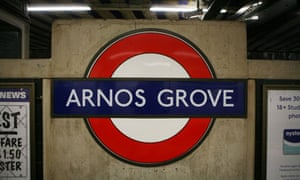 Sign for Arnos Grove underground station on the Piccadilly line in north London