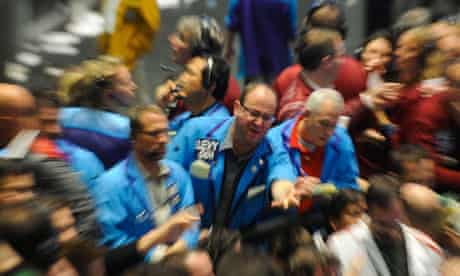Traders on the Chicago Mercantile Exchange group trading floor