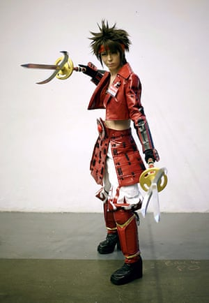 Hyper Japan London: An exhibitor wears a Cosplay outfit