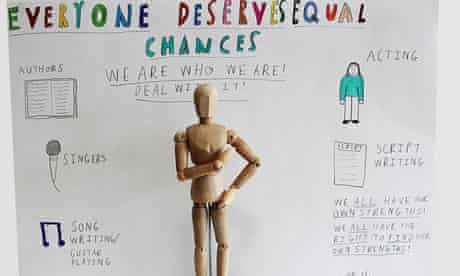 Wooden mannequin with artwork