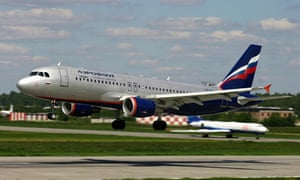 An Aeroflot Airbus A-320 lands at Sheremetyevo airport in Moscow