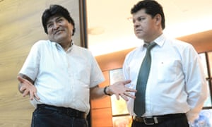 Bolivian President Evo Morales (L) and the Bolivian Defence Minister Ruben Saavedra Soto at the airport in Vienna, Austria