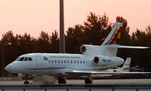 The Bolivian presidential airplane is parked at the Vienna International Airport in Schwechat