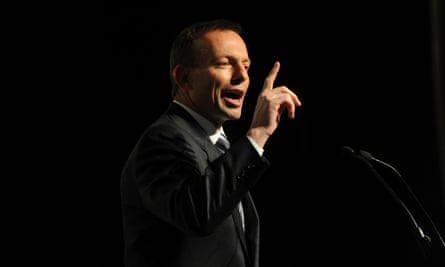 Tony Abbott during his address to the Australian - Israel chamber of commerce luncheon during the 2010 election campaign in Melbourne.