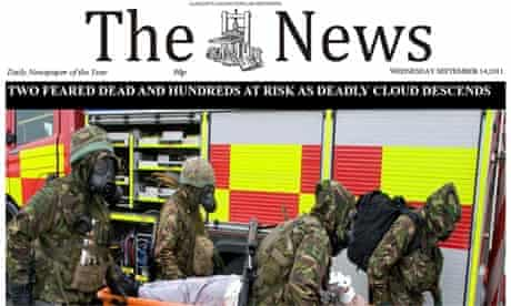 The News mock front page: 'nuke dust disaster'