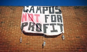 Banner reading 'campus not for profit' hangs from a wall