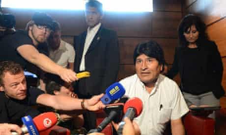 Bolivian president, Evo Morales, at Vienna airport