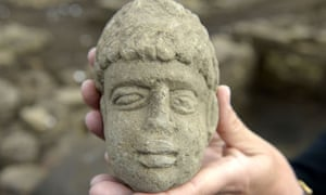 The 1,800-year-old carved stone head of a possible Roman god found near Bishop Auckland