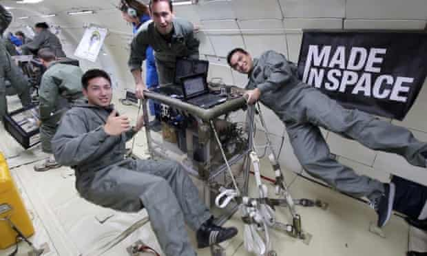 Floating factory … the Made in Space team test their 3D printer in microgravity aboard a Boeing 727.