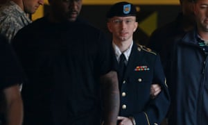 Bradley Manning is led out of a courthouse in handcuffs