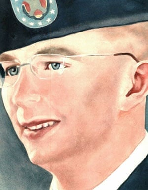 A watercolour sketch of Bradley Manning by Debra Van Poolen