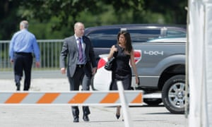 Bradley Manning's defense attorney David Coombs and Coomb's wife Tanya Monestier arrive at court for the verdict in Manning's military trial at Fort Meade, Maryland.