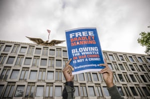 Bradley Manning protests: A supporter holds a sign outside the US Embassy in London