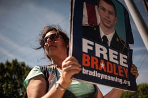 Bradley Manning protests: A protester outside the main gate before the reading of the verdict in Mann