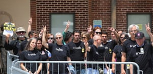 Bradley Manning protests: Supporters gesture outside the courthouse at Fort Meade, Maryland